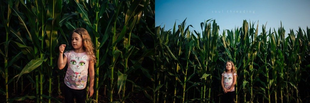 corn field girl child