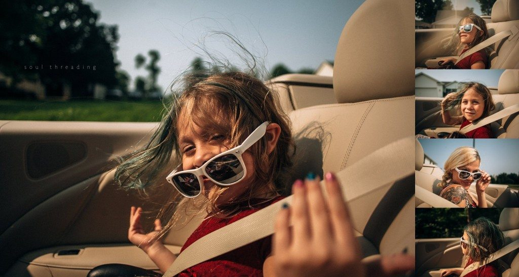 convertible girl child wind