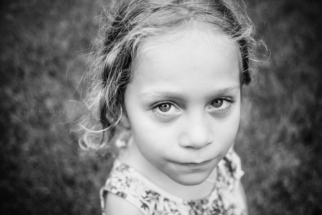 child eyes black and white